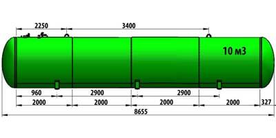 Газгольдер подземный 10 м3 (10 000 литров)  «Евро-стандарт» цена в СПб.