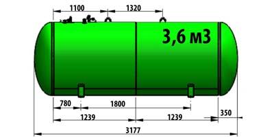 Газгольдер подземный 3,6 м3 (3600 литров)  «Евро-стандарт» цена в СПб