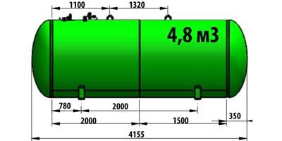 Газгольдер подземный 4,8 м3 (4800 литров)  «Евро-стандарт» цена в СПб.