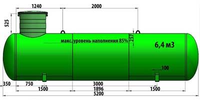 Газгольдер подземный 6,4 м3 (6400 литров)  «Евро-стандарт» цена в СПб