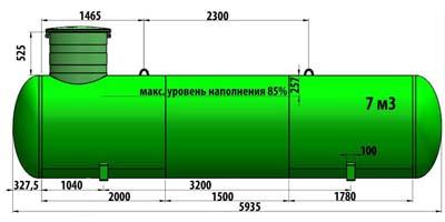 Газгольдер подземный 7 м3 (7000 литров)  «Евро-стандарт» цена в СПб.