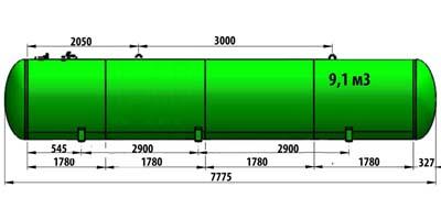 Газгольдер подземный 9,1 м3 (9100 литров)  «Евро-стандарт» цена в СПб.
