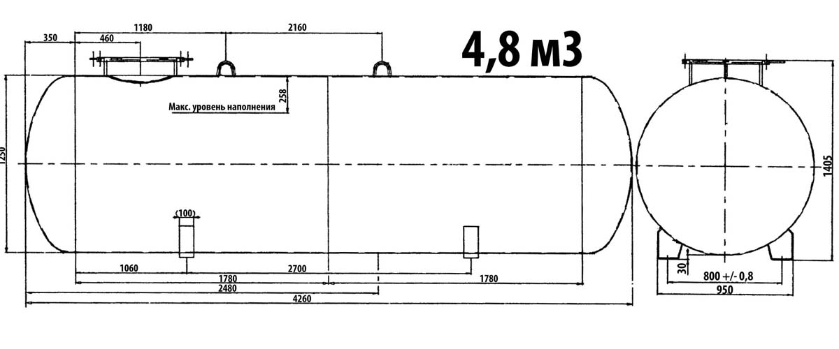 Газгольдер подземный 4,8 м3 с люком 500 мм. цена.