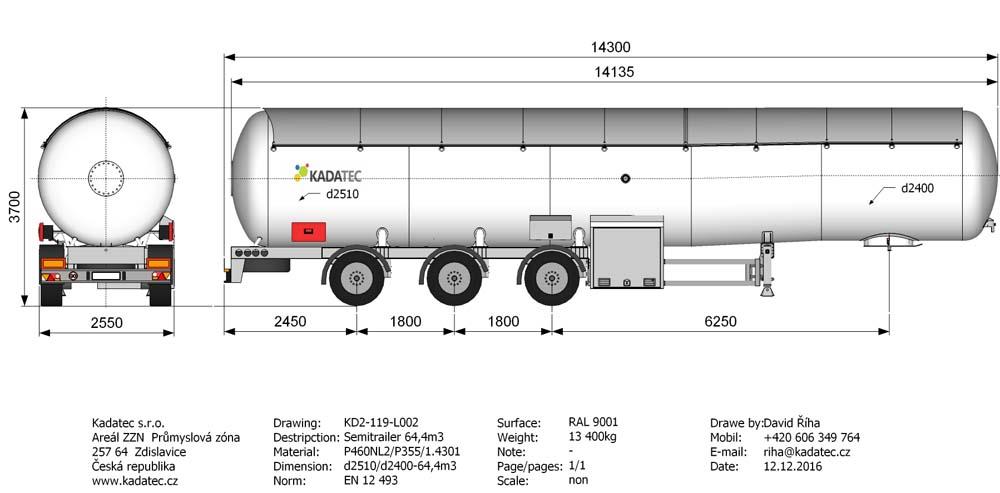 Автоцистерна KD2-119-L002 65 м3 для доставки сжиженных газов цена в СПб