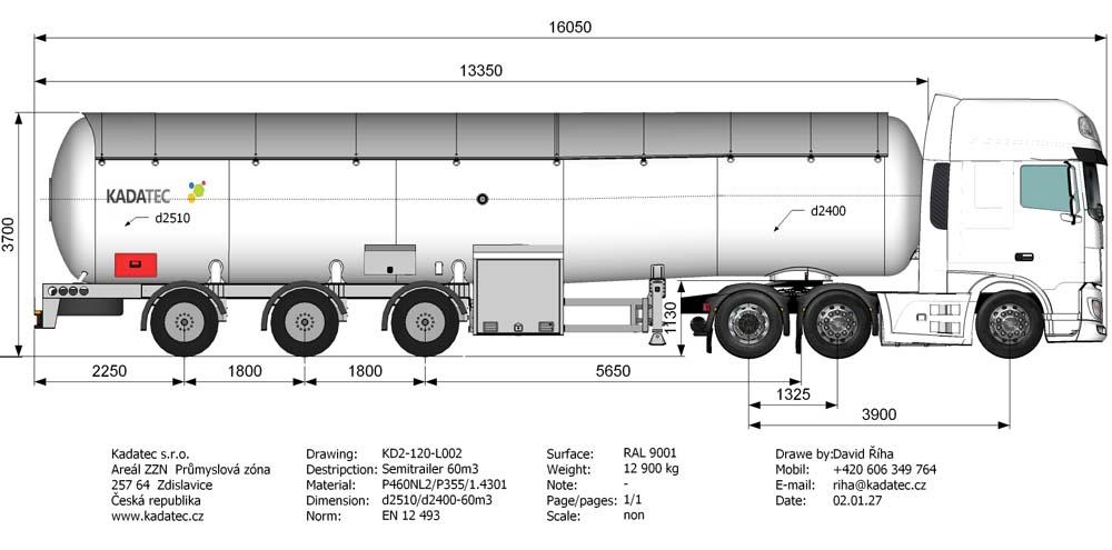Автоцистерна 60 м3 KD2-120-L002 для транспортировки сжиженных газов цена в СПб