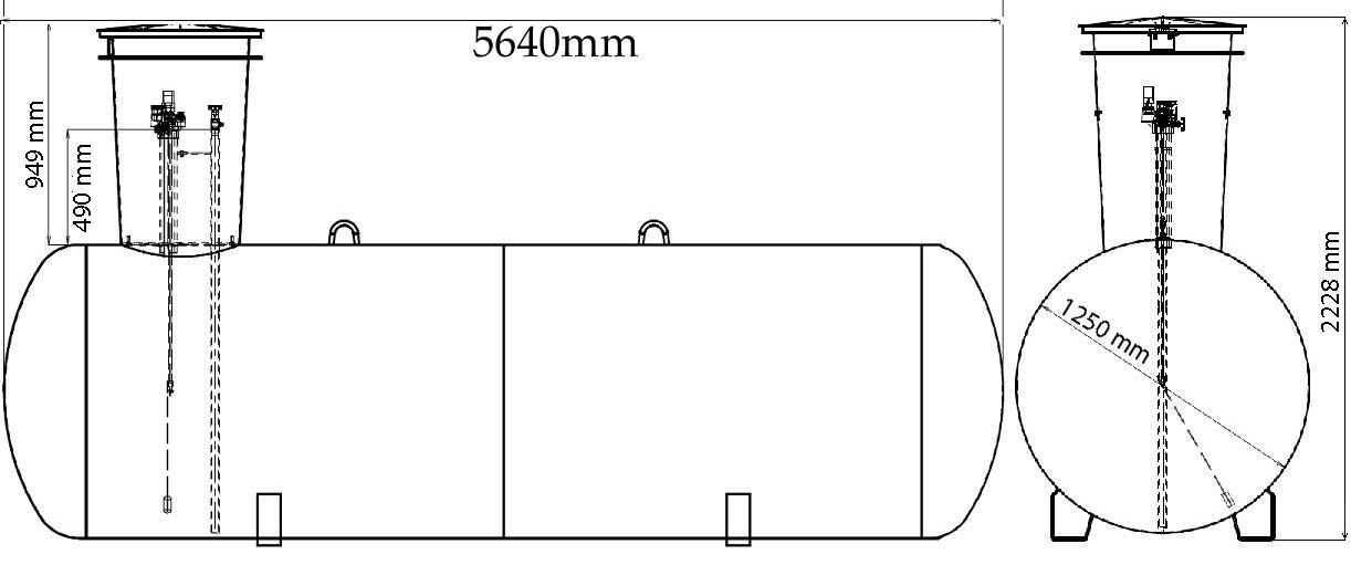 Газгольдер подземный 7 м3 с мультиклапаном.