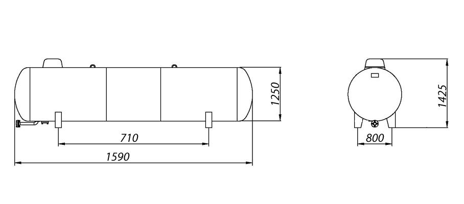 Газгольдер надземный 1650 литров.