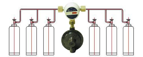 6-и баллонная установка Митекс 4 кг/час 37/50 мбар с автоматическим переключающим клапаном цена в СПб