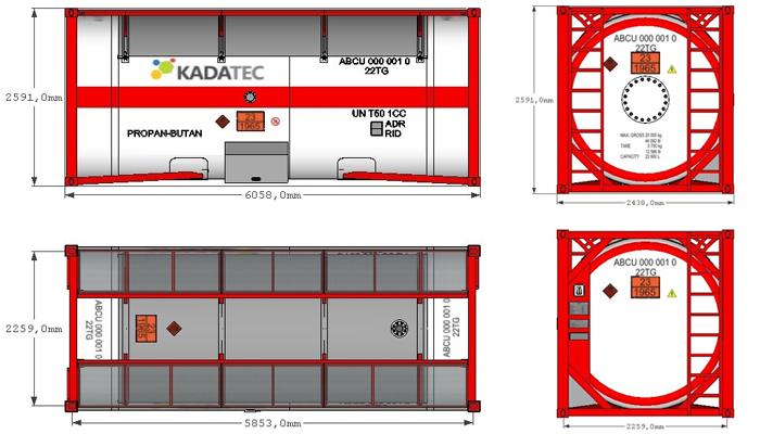 Емкость СУГ для транспортировки газа 23.9м3 в ISO-контейнереKC240/20 цена в СПб