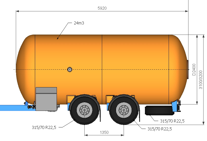 Автоцистерна 24000 литров для сжиженного газа.